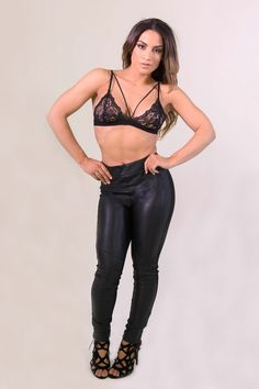 Niki Biki Paneled Faux Leather Pants #leatherleggings