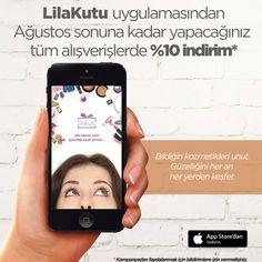 LilaKutu iOS uygulamasını indirdikten sonra Ağustos sonuna kadar yapacağınız tüm alışverişlerinizde %10 indirim! Kampanyadan faydalanmak için uygulamada bildirimlere izin vermeyi unutmayın :)  https://itunes.apple.com/tr/app/lilakutu/id1018973314?l=tr&mt=8