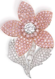 Pink diamond flower brooch