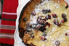 Cranberry Dutch Baby recipe from Adventures in the Kitchen #christmas #breakfast