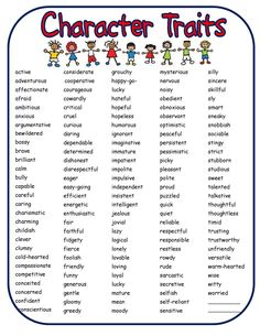 *** This character traits list would work really well when teaching students…