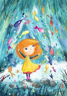 Cartoon Kunst, Cartoon Art, Art And Illustration, Character Illustration, Little Girl Illustrations, Whimsical Art, Cute Art, Art Girl, Drawings