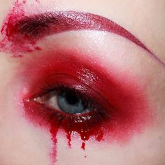 """💉 Bloodshot 💉 I love glossy irritated looking eyes, I think there's something so beautifully moody about them! Brows: Liquid Suede in Vintage.Eyes: Studded Kiss Lipstick in Prayer, Eye Vinyl in Lightrail.""""Blood"""": Butter Gloss in Red Velvet. Blood Makeup, Red Eye Makeup, Goth Makeup, Dark Makeup, Makeup For Green Eyes, Makeup Inspo, Makeup Inspiration, Kat Von D, Glossy Eyes"""