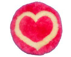 Heart Shaped Sheepskin Rug Pink (1166-05) Fabric Pom Poms, Pom Pom Rug, Nursery Rugs, Room Rugs, Unique Baby Shower Gifts, Kids Play Area, Sheepskin Rug, Unique Rugs, Contemporary Rugs