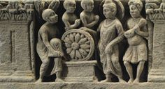 CHRISTIE'S A gray schist relief with Buddha and a chakra Gandhara, 2nd/3rd century Buddha standing at center holding the hem of his sanghati and backed by a nimbus, with Vajrapani at right dressed in a short tunic and clutching the vajra with both hands, a lotiform chakra at left resting on a low base, with three adoring monks, all flanked by columns with foliate capitals 13¼ in. (33.6 cm.) wide • SALE 2870 — • INDIAN AND SOUTHEAST ASIAN ART • 16 September 2014 New York, Rockefeller Plaza