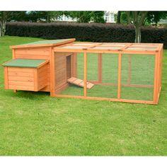 Aosom LLC Pawhut Wood Chicken Coop Rabbit Hen House Nest Huge Run Backyard…