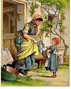 CHROMOLITHOGRAPHIE-DEBUT-20eme-ENFANTINA-PETIT-CHAPERON-ROUGE