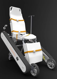 Paramedic Chair by Mauricio Ercoli - This modern take on the gurney/stretcher aims to make rescue and recovery easier for paramedics, especially in solo operations. Read more at http://www.yankodesign.com/2014/07/23/the-go-anywhere-gurney/#PRVKpgXBaPgujElU.99