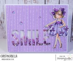 www.stampingbella.com: Rubber stamp usedL TINY TOWNIE GARDEN GIRL VIOLET , card made by Christine Levison