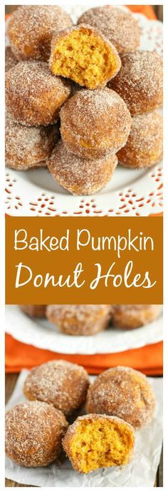 Baked pumpkin donut holes coated with cinnamon and sugar. These make the perfect breakfast for fall!