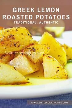 One of the ultimate Greek comfort foods! How to make delicious, slowly roasted, lemony-garlicky potatoes with an amazing Mediterranean flavor! Greek Roasted Potatoes, Greek Lemon Potatoes, Recipe For Roasted Potatoes, Recipes For Potatoes, Best Roast Potatoes, Potatoes In Oven, Roasted Potato Recipes, Healthy Potatoes, Greek Side Dishes