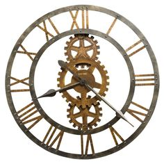 Howard Miller Crosby Industrial, Steampunk, Vintage with a Modern Twist, Statement Wall Clock, Reloj De Pared (Metal (Grey) Finish) (Glass) Howard Miller, Wall Clock Design, Dining Room Walls, Living Room, Distressed Painting, Metal Gear, Home And Deco, New Wall, Metal Walls