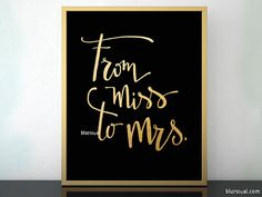 From miss to mrs printable sign, black and gold modern calligraphy, bridal shower decor, printable gold calligraphy sign - cal029 001 Merida