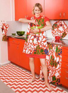 Color Explosion via Design*Sponge! Fun textiles from Brita Sweden Scandinavian Living, Scandinavian Design, Swedish Traditions, Orange Kitchen, Cute Kitchen, Kitchen Mat, Orange You Glad, Tea Towels, Event Design