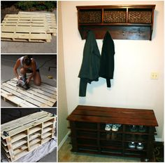 The Perfect DIY Pallet Entry Storage Bench