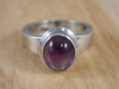 Sugalite Ring / Vintage Sterling Silver and Sugalite Mod Style Ring / Purple Gemstone Ring Size 6.5 by VintageBaublesnBits on Etsy