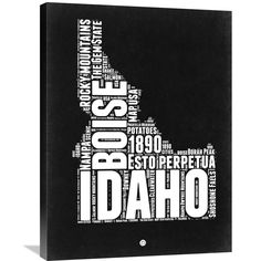 Naxart Studio 'Idaho and White Map' Stretched Canvas Wall Art