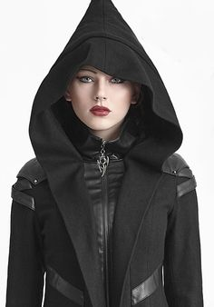 Fashions for the modern goth - black cloak jacket with large hood and black veggie-leather straps and patches at the shoulders.. DIY the look yourself: http://mjtrends.com/pins.php?name=veggie-leather-for-goth-fashions