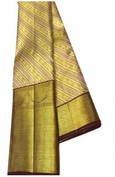 Golden Handloom Kanjeevaram Pure Silk Saree With Big Border Banarasi Sarees, Pure Silk Sarees, Sarees Online, Damask, Pattern Design, Cool Outfits, Pure Products, Clothes For Women, Big