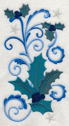 Blue Christmas Holly design (J3699) from www.Emblibrary.com