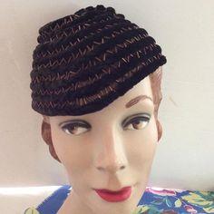 Vintage 1930s Hat Skull Pixie Cap Coil Spiral Brown Velvet Copper Color Bugle Beads