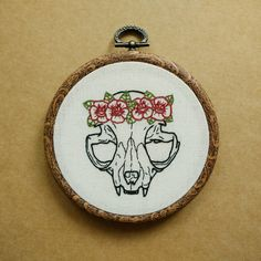Cat Skull with Flower Crown Hand Embroidery Hoop Art (tattoo patch - flower patch) by ALIFERA on Etsy