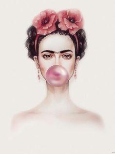 Find great deals for Frida Kahlo Bubble Gum Art Imagen Cartel impresión Laminad. Kahlo Paintings, Frida Art, Foto Poster, Trendy Wallpaper, Bubble Gum, Art Images, Fashion Art, Vintage Fashion, Pop Art