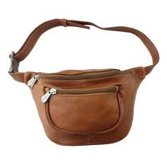 Piel Leather Travelers Waist Bag - Saddle - 8825