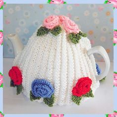 Ravelry: Ann Vintage Roses Style Tea Pot Cosy Cozy DK Yarn Knitting Pattern pattern by Adel Kay by lovescrochet Tea Cosy Knitting Pattern, Knitting Yarn, Knitting Patterns, Crochet Patterns, Knitted Tea Cosies, Small Tapestry, Tea Cozy, Flower Tea, Rose Tea
