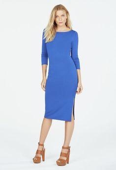 Boatneck Side Slit Dress in Bell BottomBlue - Get great deals at JustFab