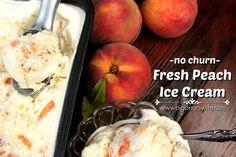 Fresh Peach Ice Cream - no churn ice cream! Peach Ice Cream Recipe, Sorbet Ice Cream, Homemade Ice Cream, Ice Cream Recipes, Delicious Desserts, Dessert Recipes, Dessert Ideas, Peach Pound Cakes, Farmers Market Recipes