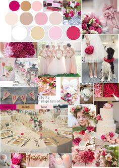 Ma palette de couleurs mariage: lin, rose pâle et framboise.