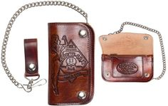 "No Riders Antiqued 6 "" Embossed wallet with chain by Lucky 13"