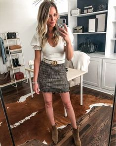 Loving this cream bodysuit with the puff sleeve details. Wear this now or into the fall! #fallfashion #falloutfits #miniskirt #turtlenecksweater #fallstyle #fallootd #tweedskirt #bodysuits #puffsleeves