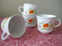 Vintage Housewares 80's Corelle Cups Floral by Freshandswanky, $12.00