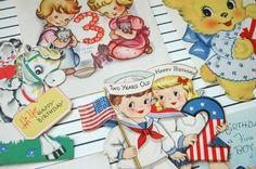 Darling little Happy Birthday vintage greeting card 5 by klickatat, $10.00