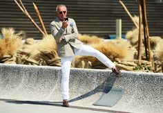 Casual stretching at Pitti Uomo #streetstyle.