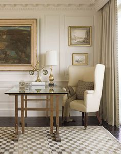 Phoebe Howard, Walls are Farrow & Ball, Clunch, House Beautiful -- City Apartment - Living Room - mixing old with the new Beautiful Interiors, Beautiful Homes, House Beautiful, My Living Room, Living Spaces, City Living, Atlanta Apartments, Home Office, Office Nook
