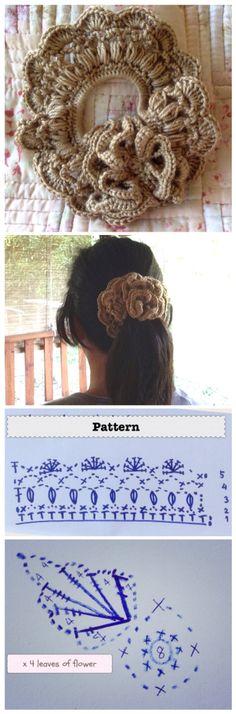 Flower Crochet Scrunchies with Pattern