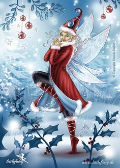Littlefaery Elf Samira by Daniela Kufner. Would be cute to have printed and in a frame for seasonal decoration.