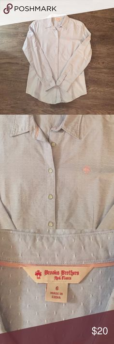 Brooks Brothers Red Fleece Oxford Shirt Brooks Brothers women's light blue Oxford shirt. Pink Golden Fleece logo on chest. Size 6. 100% cotton. Brooks Brothers Tops Button Down Shirts