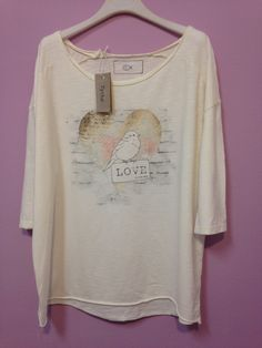 t-shirt over - stampa cuore uccellino love