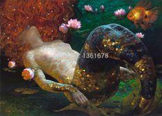 Cheap Sueños sirenas lona by Victor Nizovtsev realista pintura al óleo impresa en la lona, Compro Calidad Pintura y Caligrafía directamente de los surtidores de China:                     Sueños de  lona por Victor nizovtsev sirenas