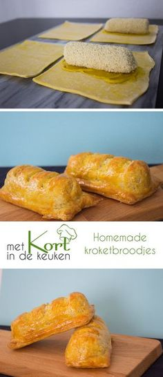 Recept voor kroketbroodjes. Wat heb je nodig (voor 2 kroketbroodjes): 4 plakjes bladerdeeg (uit de diepvries). 2 kroketten. 2 theelepels mosterd. 1 losgeklopt eigeel.