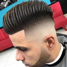 High Razor Fade with Line Up and Combed Over Pomp