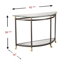 Southern Enterprises Allesandro Demilune Glass Console Table in Gold