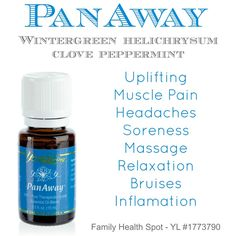 PanAway - Click to find out how you can replace all your over the counter medications with pure, natural essential oils — Family Health Spot Panaway Essential Oil, Natural Essential Oils, Young Living Oils, Young Living Essential Oils, Natural Healing, Home Remedies, Peppermint, Health And Beauty, Health Tips