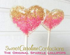 Hot Pink and Gold Ombre Heart Lollipops, Hard Candy Lollipops, Candy Lollipop, Wedding Lollipop, Sweet Caroline Confections -Set of Six