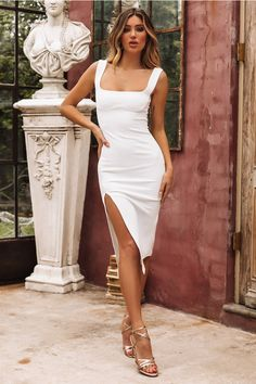 0f9e38c1abc Leave The Light On Midi Dress White