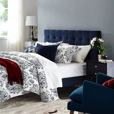 Modway Paisley Upholstered Biscuit Tufted Performance Velvet Full/Queen Headboard Size in Midnight Blue Blue Headboard, Modern Headboard, Velvet Headboard, Bookcase Headboard, Wingback Headboard, Queen Headboard, Panel Headboard, Velvet Bed, California King Headboard